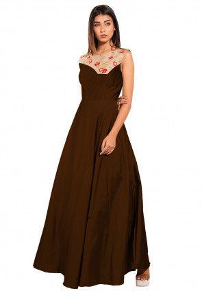 Embroide Art Taffeta Silk Gown in Dark Brown