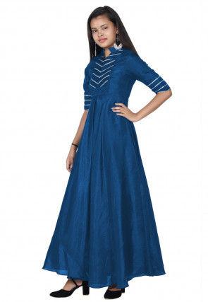 Embroide Bhagalpuri Silk A Line Kurta Set in Dark Blue