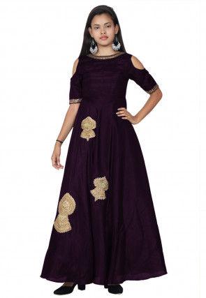 Embroide Bhagalpuri Silk A Line Kurta Set in Dark Purple