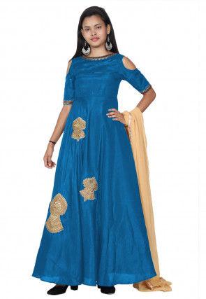 Embroide Bhagalpuri Silk Abaya Style Suit in Blue