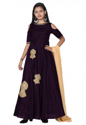 Embroide Bhagalpuri Silk Abaya Style Suit in Dark Purple