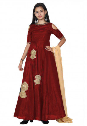 Embroide Bhagalpuri Silk Abaya Style Suit in Maroon