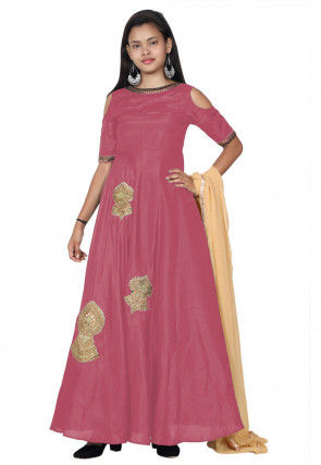 Embroide Bhagalpuri Silk Abaya Style Suit in Pink
