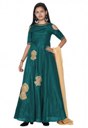 Embroide Bhagalpuri Silk Abaya Style Suit in Teal Blue