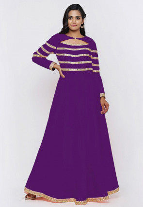 Embroide Dupion Silk Flared Gown in Dark Purple