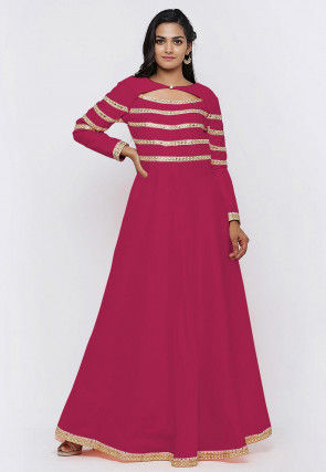 Embroide Dupion Silk Flared Gown in Fuchsia