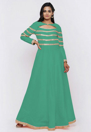 Embroide Dupion Silk Flared Gown in Teal Green
