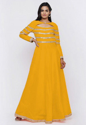Embroide Dupion Silk Flared Gown in Yellow