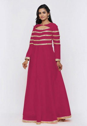 Embroide Dupion Silk Flared Gown Set in Fuchsia