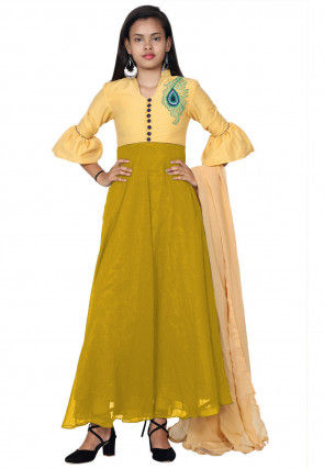 Embroide Georgette Abaya Style Suit in Mustard and Yellow