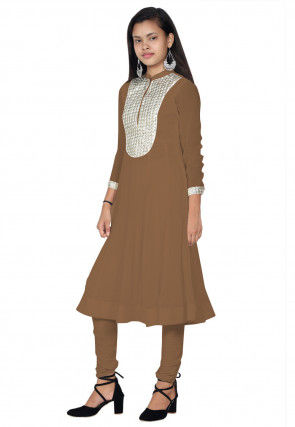 Embroide Georgette Anarkali Kurta Set in Beige