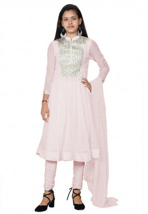Embroide Georgette Anarkali Suit in Baby Pink