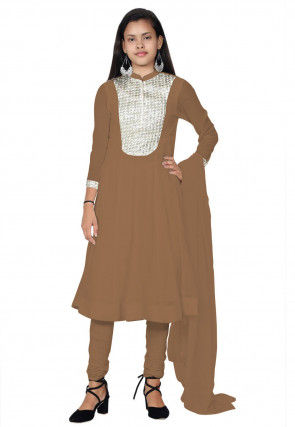Embroide Georgette Anarkali Suit in Beige