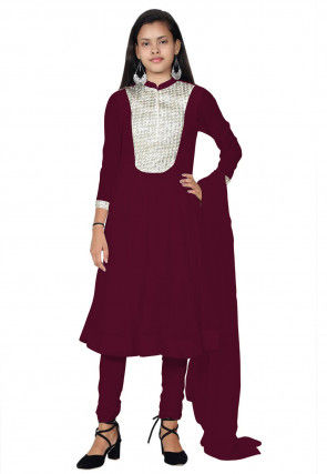 Embroide Georgette Anarkali Suit in Magenta