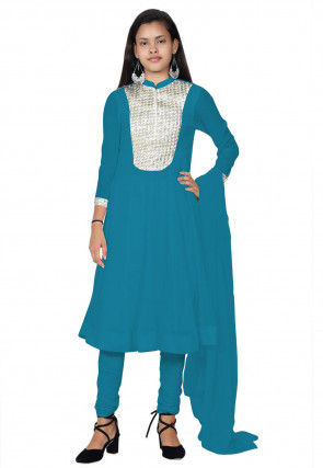 Embroide Georgette Anarkali Suit in Teal Blue