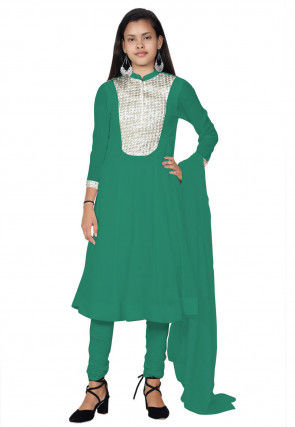 Embroide Georgette Anarkali Suit in Teal Green