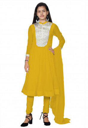 Embroide Georgette Anarkali Suit in Yellow
