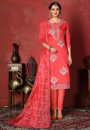 Embroidered   Chanderi Silk Pakistani Suit in Coral Red