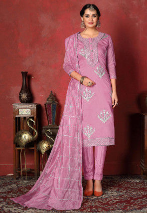 Embroidered   Chanderi Silk Pakistani Suit in Lilac