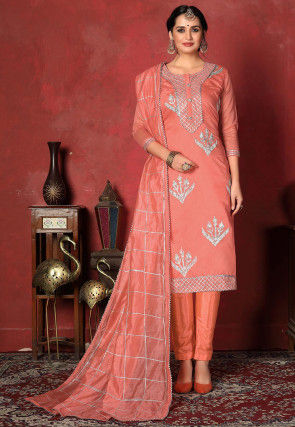 Embroidered   Chanderi Silk Pakistani Suit in Peach