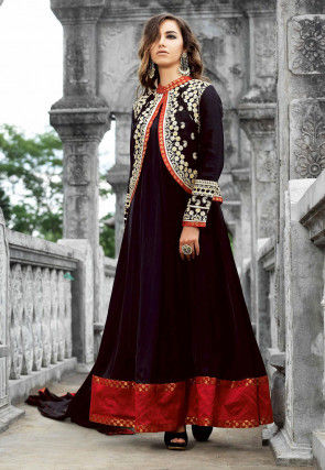 Embroidered Abaya Jacket Style Satin Suit in Black