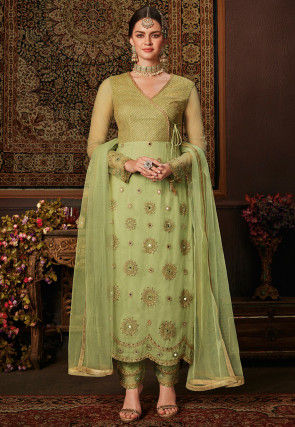 Embroidered Angrakha Style Net Pakistani Suit in Light Green