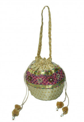 Embroidered Art Banarasi Silk Potli Bag in Beige