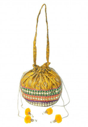 Embroidered Art Banarasi Silk Potli Bag in Mustard and Multicolor