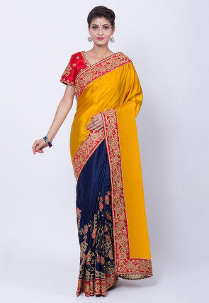 Embroidered Art Bangalore Silk Saree in Mustard and Navy Blue