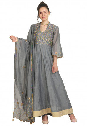 Embroidered Art Chanderi Silk Abaya Style Suit in Grey
