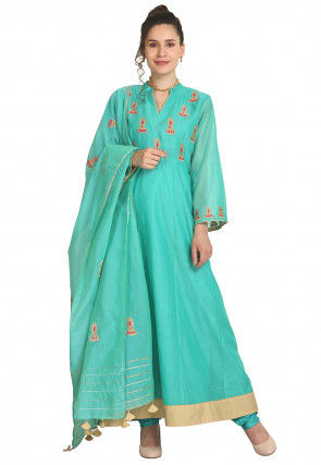 Embroidered Art Chanderi Silk Abaya Style Suit in Turquoise