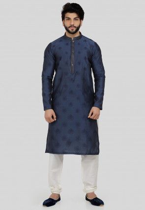 Embroidered Art Chanderi Silk Kurta Set in Dark Blue