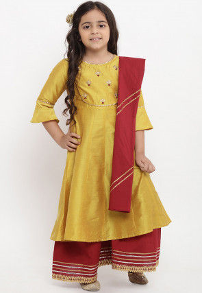 Embroidered Art Chanderi Silk Pakistani Suit in Mustard