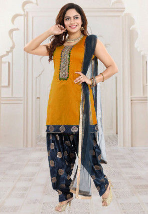 Embroidered Art Chanderi Silk Punjabi Suit in Mustard