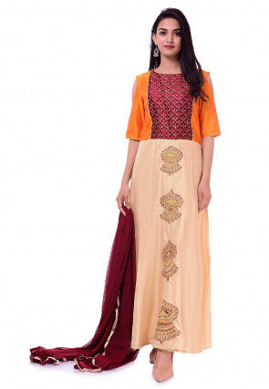 Embroidered Art Dupion Silk Abaya Style Suit in Beige and Orange