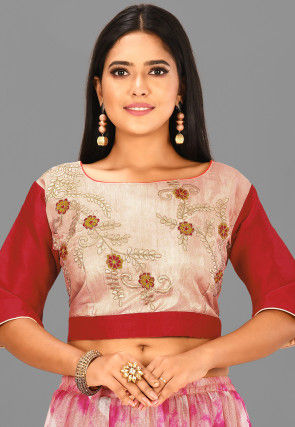 Embroidered Dupion Silk Blouse in Beige and Red