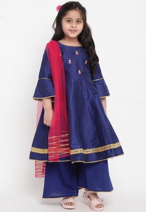 Embroidered Art Dupion Silk Pakistani Suit in Navy Blue