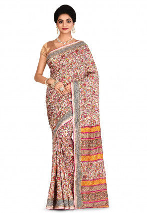 Embroidered Art Pashmina Silk Saree in Cream and Multicolor