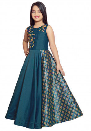 Embroidered Art Silk A Line Gown in Teal Blue