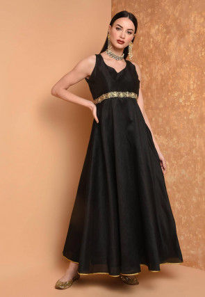 Embroidered Art Silk A Line Kurta in Black