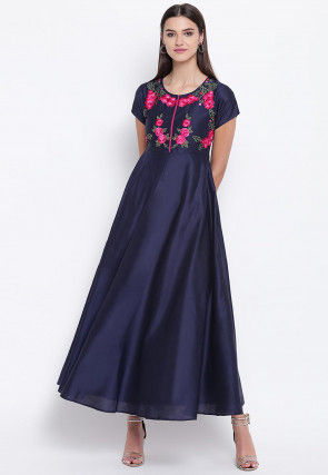 Embroidered Art Silk A Line Kurta in Navy Blue