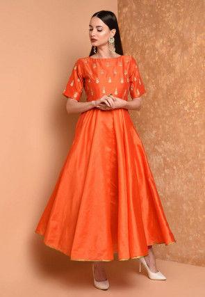 Embroidered Art Silk A Line Kurta in Orange