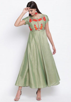 Embroidered Art Silk A Line Kurta in Pastel Green