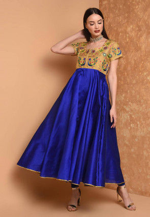 Embroidered Art Silk A Line Kurta in Royal Blue and Beige