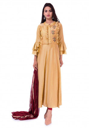 Embroidered Art Silk A Line Suit in Beige