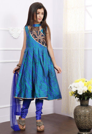 Embroidered Art Silk A Line Suit in Blue