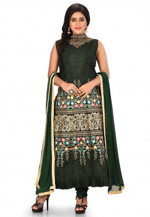 Embroidered Art Silk A Line Suit in Dark Green