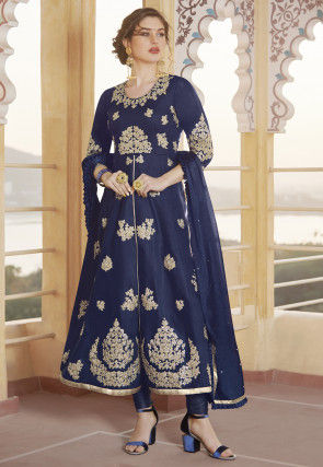 Embroidered Art Silk A Line Suit in Navy Blue