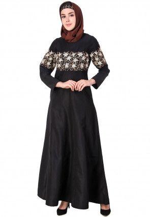 Embroidered Cotton Silk Abaya in Black