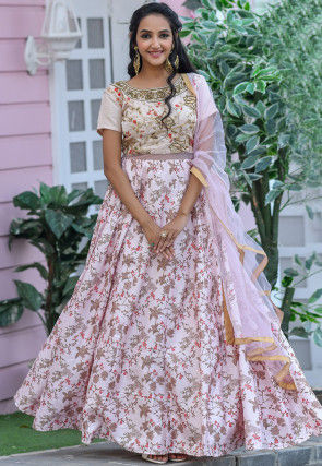 Embroidered Art Silk Abaya Style Suit in Baby Pink